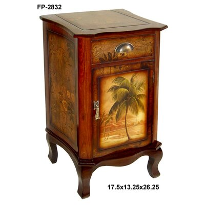 Cheungs Rattan Wooden Cabinet with Three Drawers and Palm Tree Design