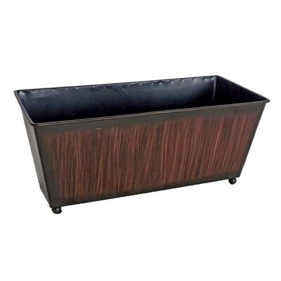 Cheungs Metal Ledge Planter with Brown Brush Stroke Design