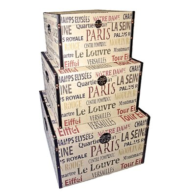 Cheungs Rattan Trunk Parisian Typography (Set of 3)