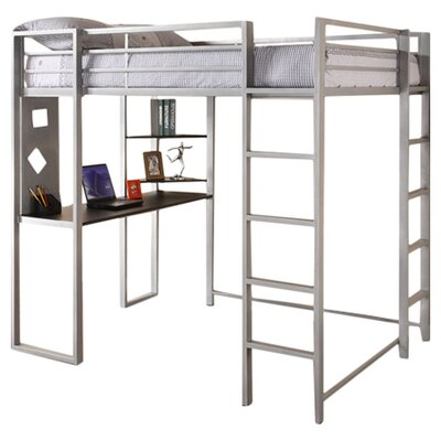 DHP Abode Full Loft Bed with Desk and Bookshelves