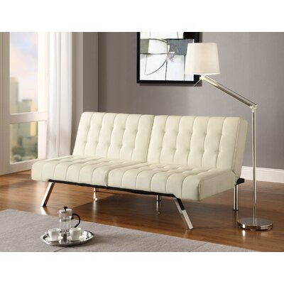 DHP Emily Vanilla Faux Leather Convertible Futon