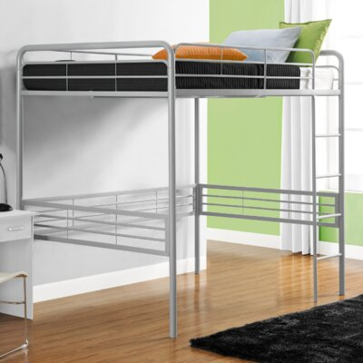 DHP Full Metal Loft Bed with Built-In Ladder