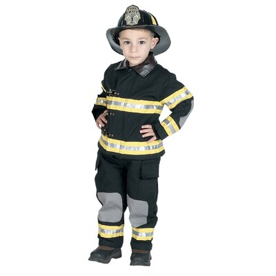 Jr. Fire Fighter Suit Costume in Black