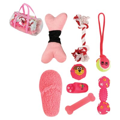Pet Life 8 Piece Duffle Pet Toy Set