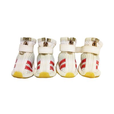 Mesh Spring Dog Shoes - Wider Fit in White and Red