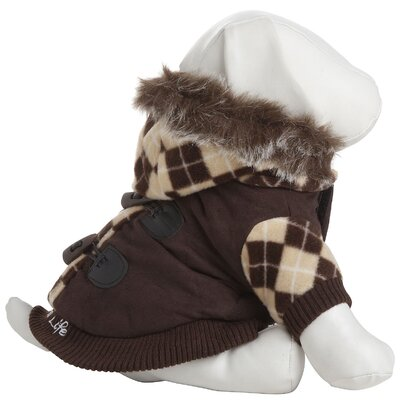 Designer Patterned Sweat Dog Jacket with Removeable Hood in Brown