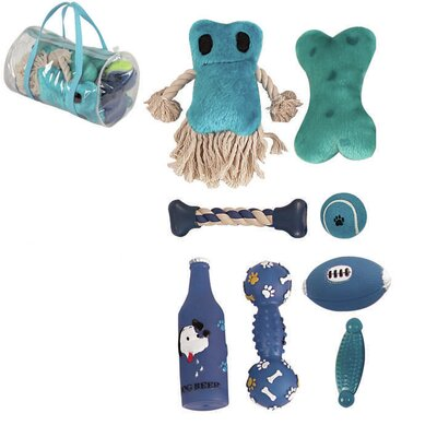 8 Piece Duffle Pet Plush Rubber and Jute Rope Squeak Toy Set