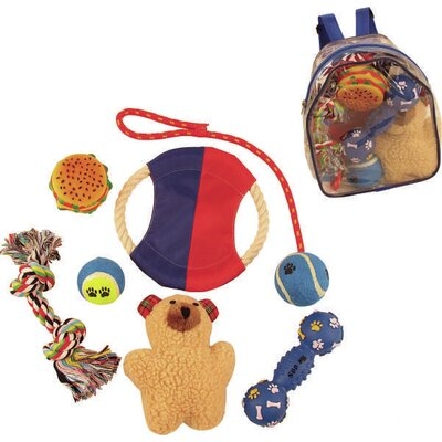 Pet Life 8 Piece Backpack Pet Toy Set