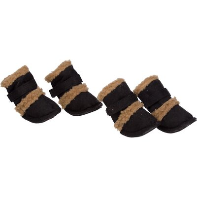 Pet Life Duggz Snuggly Shearling Dog Boots in Black and Brown (Set of 4)