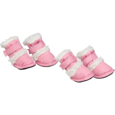 Pet Life Duggz Snuggly Shearling Dog Boots in Pink and White