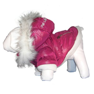 Metallic Dog Parka with Removable Hood in Pink