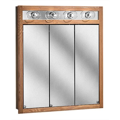 "Coastal Collection Bostonian Series 30"" x 35.5"" Red Oak Lighted Tri View Medicine Cabinet in Honey Oak Finish"