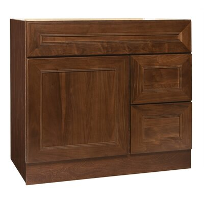 "Coastal Collection San Remo Series 36"" x 21"" Black Walnut Bathroom Vanity in Chestnut Finish"