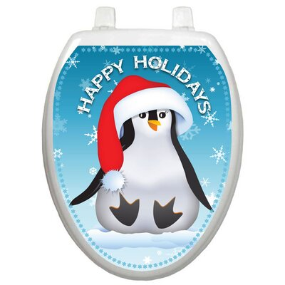 Toilet Tattoos Holiday Happy Penguin Toilet Seat Decal