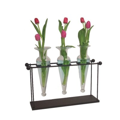 Danya B Triple Amphorae Vases on Stand in Clear