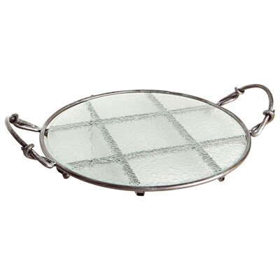 <strong>Danya B</strong> Textured Round Glass Serving Tray on Iron Stand