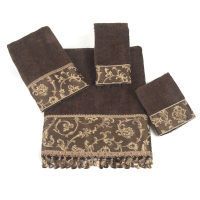Damask Fringe 4 Piece Towel Set