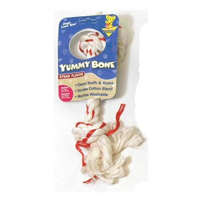 BOODA Pet Products Yummy Rope Bone Dog Toy with Steak Flavor