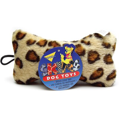 BOODA Pet Products Medium Plush Leopard Skin Bone Dog Toy