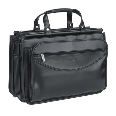 Solo Cases Classic Look Triple Compartment Leather Briefcase
