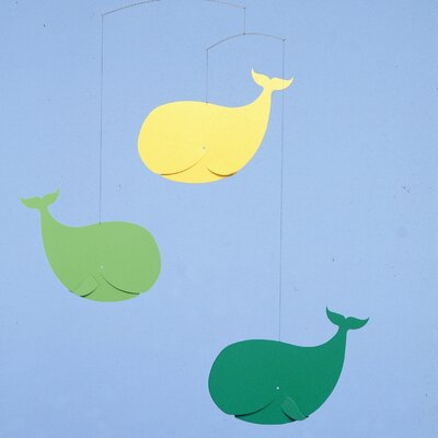 Flensted Mobiles Happy Whales Mobile in Green / Yellow