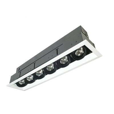 Six Light MR16 Multiple Trim with Transformer in Black