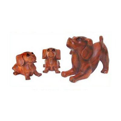 Novica 'Mother and Puppies' Statuettes (Set of 3)