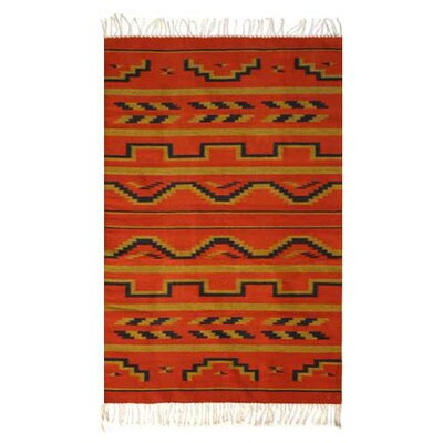 Fire of Dawn Zapotec Rug