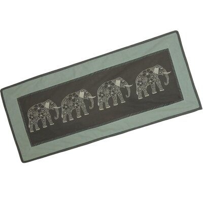 Novica Thanyarat Sananpanich Artisan Four Floral Elephants Cotton Table Runner