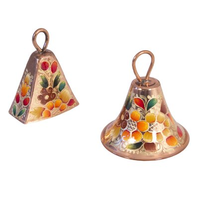 Novica The Olimpia and Pepe Artisan Wildflowers Copper Bells (Set of 2)