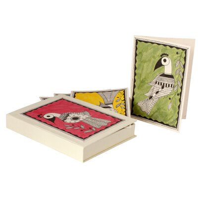 Novica Vidushini Artisan Pretty Peacocks Madhubani Greeting Cards Set