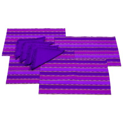 Komon Utzil Artisan Zunil Inspiration Cotton Placemat And Napkin Set (Set of 8)