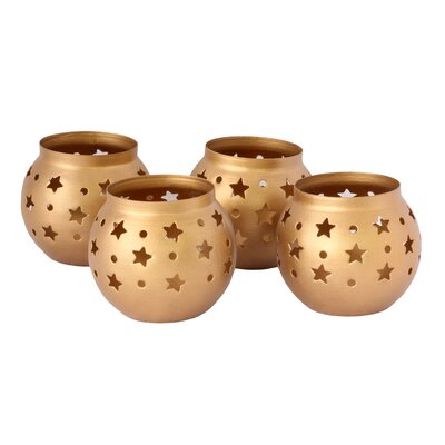 Novica Kamal Artisan Golden Heavens Steel Candleholders (Set of 4)