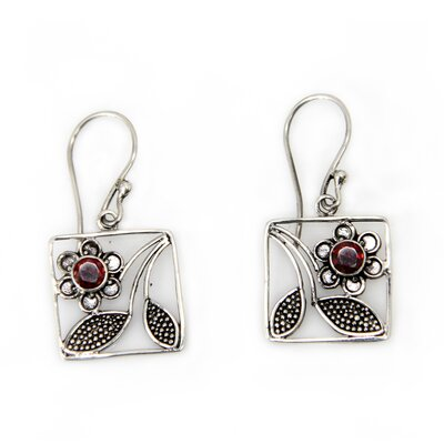 Novica The Wayan Asmana Artisan Garnet Bali Daisy Flower Earrings