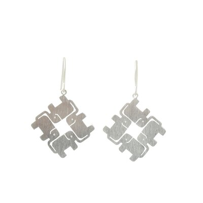 The Jantana Artisan Elephant Matrix Dangle Earrings