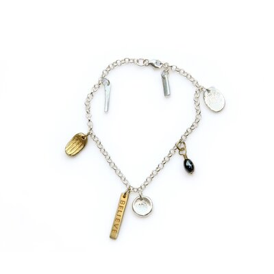 The Hariyono Artisan Gold Overlay Believe in Charm bracelet