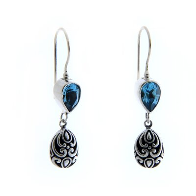 The Wayan Sarjana Artisan Blue Topaz Lotus Bud Dangle Earrings