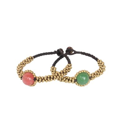 Novica The Tiraphan Hasub Artisan Beaded Planet Spring Wristband Bracelets (Set of 2)