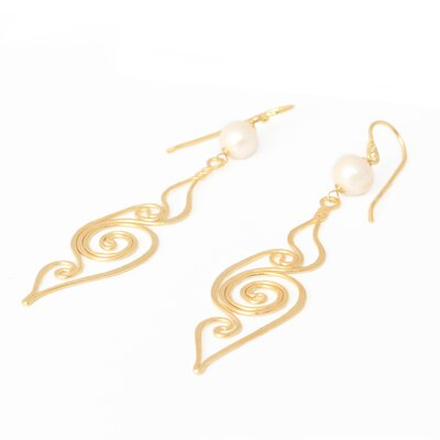 The Khun Boom Artisan Seashell Cultured Pearl Dangle Earrings