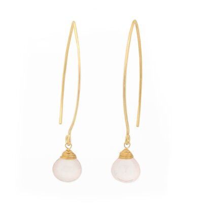 The Khun Boom Artisan Breath of Love Vermeil Rose Quartz Dangle Earrings