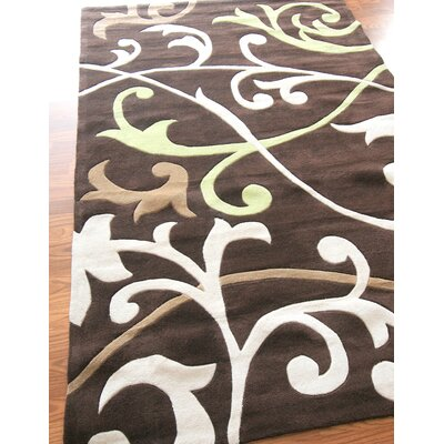 nuLOOM Cine Scrolling Vines Brown Rug