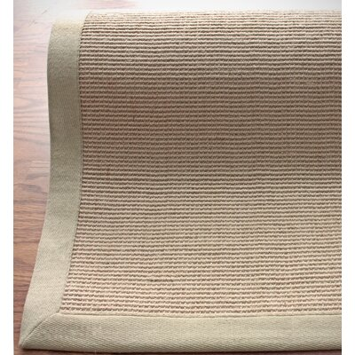 nuLOOM Natural Jute Cotton Sand Border Rug