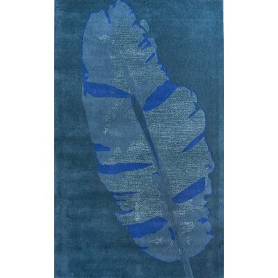nuLOOM Pop Moderne Leaf Blue Rug