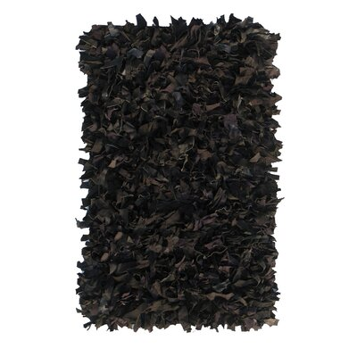 nuLOOM Leather Shag Black Rug