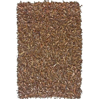 nuLOOM Leather Shag Dark Brown Rug