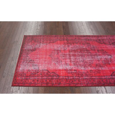 nuLOOM Remade Distressed Overdyed Red Rug
