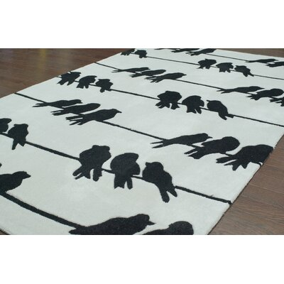 nuLOOM Cine Light Grey Birds On A Wire Novelty Rug