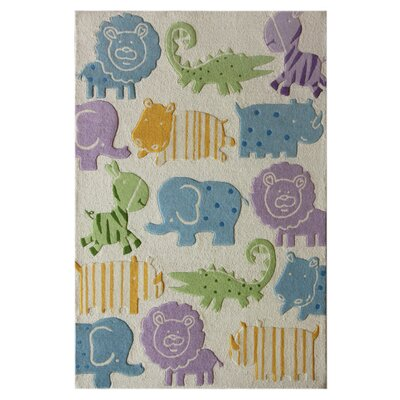 nuLOOM Kinder Ivory Animal Kingdom Kids Rug