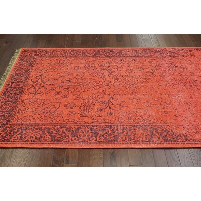 nuLOOM Ayers Red Washed Damask Fringe Rug