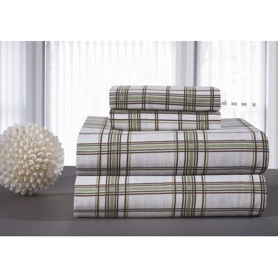 Heavy Weight Printed Flannel Sheet Set in Sage Plaid